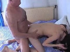 Old Man And Teen N31 Brunette Teen Babe And A Mature Man
