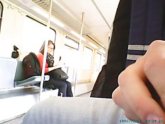 Train masturbation in front of girl