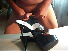 high heeled mules cummed