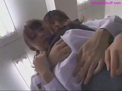 Busty Schoolgirl Sucking Cock Getting Her Tits Rubbed And Fucked In The Office
