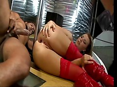 Beautiful blonde white stripper in red lingerie fucks a stud in the strip club