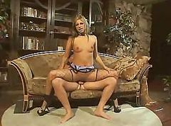 Sexy whore gets that hard cock up both of her wet fuck holes
