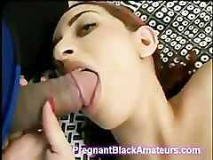 Beautiful pregnant Latina goes horny blowing 2 huge dicks