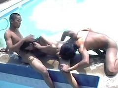 Naked Thai Trio With Swarthy Bodies Bangs Hard In Swimming Pool
