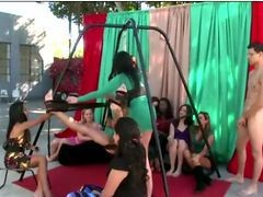 Amateur Babes Enjoy Jerking Cfnm Guy In A Sex Swing