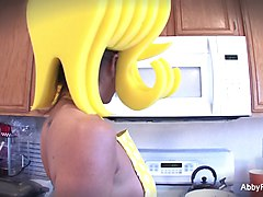Cartoon style Abigail Mac getting off in the kitchen