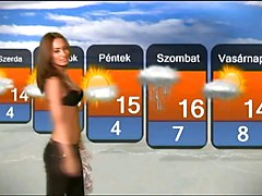 Hot Chick Striptease in Hungarian Weather Forecast