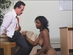 Black Chick Gets Fucked By Dominating Woman And A Guy
