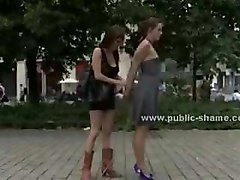 Naked slut humiliated in public in rough fetish deepthroat and an