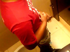 Bathroom stall neighbor lets me film him jerking off.