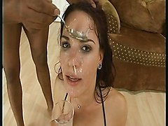 Extreme slut drinking sperm from glass