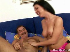 Naughty Busty Teen Enjoys Sex With Grandpa