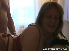 Chubby and busty amateur wife sucks and fucks with cum