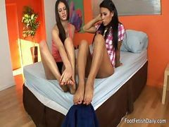 These Naughty Lesbian Cuties Want To Enjoy Each Other's Feet And Toes To The Maximum