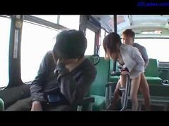 Office Lady In Shirt Getting Her Pusssy Fucked Facial On The Bus