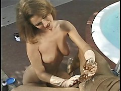 hottie uses gloves to give handjob outdoors