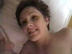 short haired wife doggy style and facial