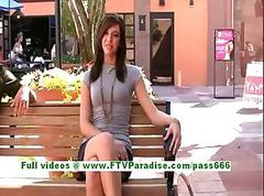 Madeline adorable brunette teenage public flashing tits