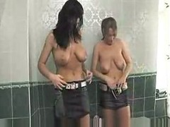 Busty Shower Babes Share A Cock
