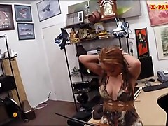 busty slut tries out to sell her stuff in the pawnshop
