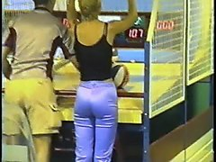 beautiful public teen butt in satin pants