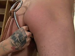 bdsm cute slave boy tied and jerked to cum
