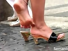 candid italian shoeplay and wiggles her toes