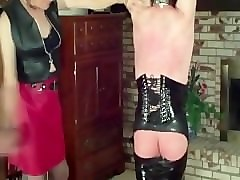 latex shemale sex slave tied up, whipped, flogged & beaten!