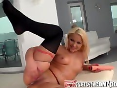 fist flush lana's tight body takes giant dildo and own fist