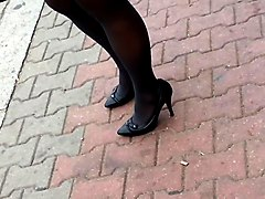 candid sexy high heels pantyose in bus stop 324