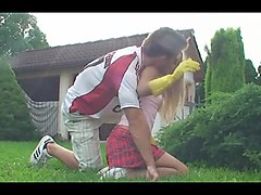 blonde girl make outdoor blowjob in yellow rubber gloves
