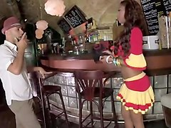 black bar maid fucks bunch of white customers