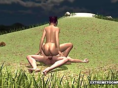 tasty 3d cartoon babe getting fucked outdoors