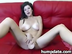 babe eats her dildo and toying her pussy