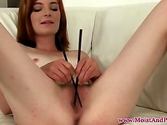 petite redhead masturbates and uses toy