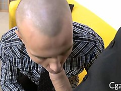 bald guy looking for work fucked bareback by his boss