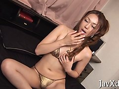 classy japanese babe toying her pussy in uncensored close up