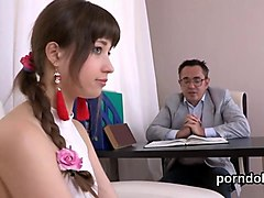 nice college girl gets seduced and rode by her senior teacher