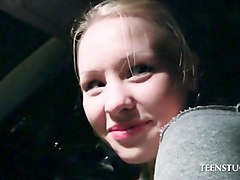 blonde mistaking car gear with a huge dick