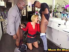 naughty blonde mom sucks and rides two hard dicks in hair studio