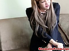 jap schooluniform tgirl gets cock railed