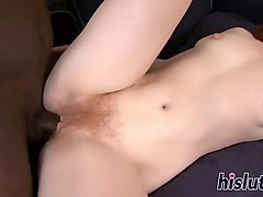 black shaft penetrates barbara hairy cunt