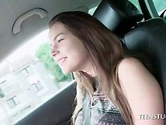 cute teen flashing big tits and cunt in the car feature