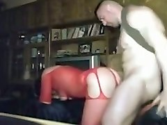 big racked rather pale brunette nympho in red lingerie is hammered doggy