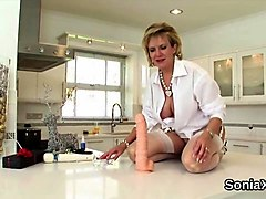 unfaithful english mature lady sonia displays her gigantic breasts