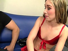 horny blonde slut tiffany flowers gags on load of jizz