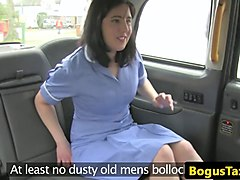 brit taxi nurse deepthroating cabbies cock
