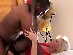 attractive blonde girl with sexy black man fucking and stro