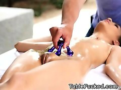 brunette on massage table toy fun and fucking outdoors