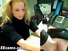 blonde masturbation office boss